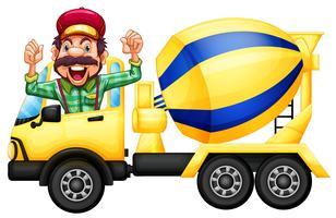 Een bestuurder van de cementvrachtwagen op witte achtergrond