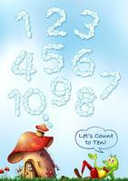 Cloud lettertype nummer op hemel vector