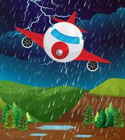 Vliegtuig vliegt in slecht weer