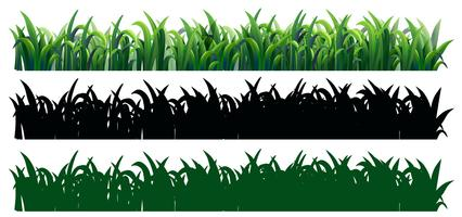 Naadloos gras in drie stijlen vector