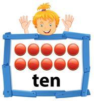 Meisje met nummer tien banner vector