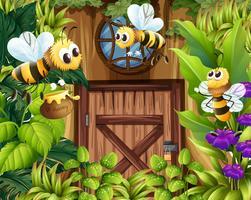 Bijen vliegen door de tuin vector