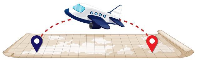 Vliegtuig vliegt naar de bestemming vector