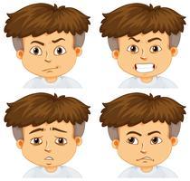 Jongen met verschillende emoties vector