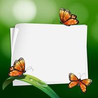 Grensontwerp met vlinders op blad vector