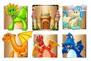 Paleis en vele draken vector
