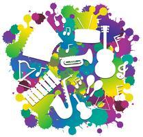 Achtergrond met silhouet muziekinstrumenten vector