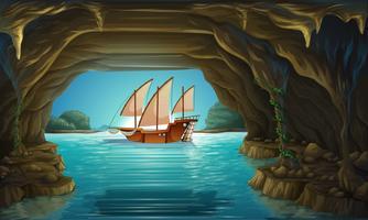 Zeilboot die op de oceaan drijft