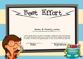 Diplomamalplaatje met meisje en bord vector