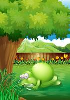 Een tuin met een slapend monster vector