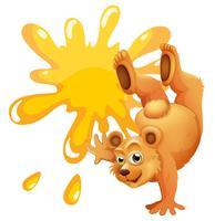 Een beer doet een handstand naast de lege sjabloon vector