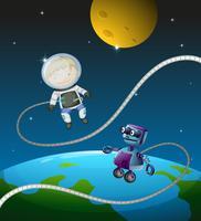 Een astronaut en een robot