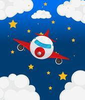 Een vliegtuig aan de hemel