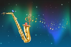 Een saxofoon met een vlinder en muzieknoten