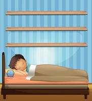 Jongensslaap in slaapkamer vector