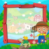 Grensontwerp met boer en dieren