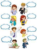 Business-minded mensen met lege callouts vector