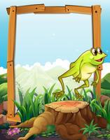 Houten frame met kikker springen achtergrond