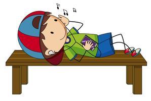 Weinig jongen die aan muziek luistert vector