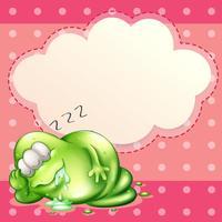 Een monster dat slaapt en kwijlt met een lege cloudsjabloon aan de achterkant