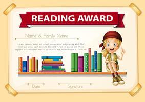 Lezingstoekenning met meisje en boeken vector