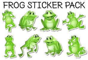 Sticker set van groene kikkers