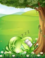 Een heuveltop met een monster dat onder de boom slaapt