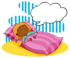 Meisjeslaap in het bed vector