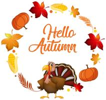 Een kalkoen op herfst kaartsjabloon
