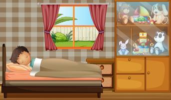 Een jongen die in zijn slaapkamer slaapt vector