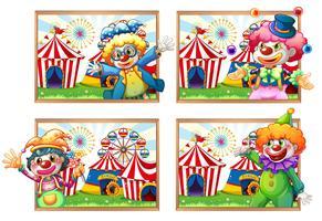 Vier fotokader van clowns bij het circus vector