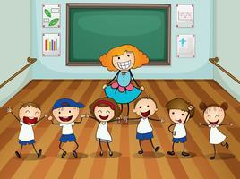 Docent en studenten in dansles