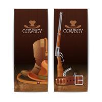 Twee verticale cowboybanners