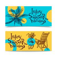 Zomer strand banners vector