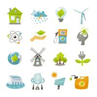Eco energie pictogrammen plat
