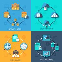 Big data 4 plat pictogrammen samenstelling