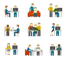Coworking Center Pictogrammen vector