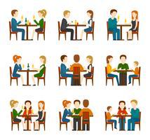 Mensen In Restaurant Set vector