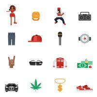 Rap muziek plat pictogrammen vector