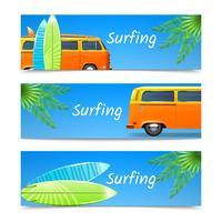 Surfen Banners Set vector