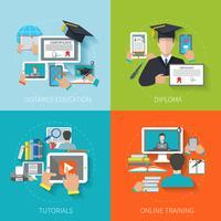 Online onderwijs vlak vector