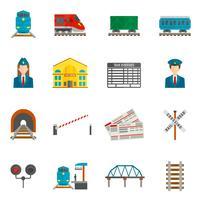 Spoorlijn Icons Set vector
