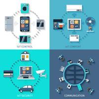Internet van samenstelling van dingen de vlakke pictogrammen