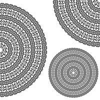 Monochromatische etnische texturen. Ronde hele, halve en kwart sier vectorvormen