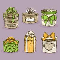 Inzameling van gift huidige dozen met bogen vector
