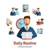 Affiche van het zakenman de dagelijkse routineconcept vector