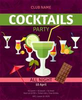 Tropische cocktails nacht feest uitnodiging poster vector