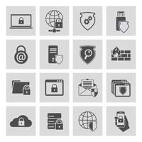 Informatie technologie beveiligingspictogrammen instellen vector