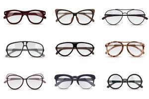 Realistische brillen instellen vector