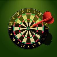 Dartbord met dart in het midden